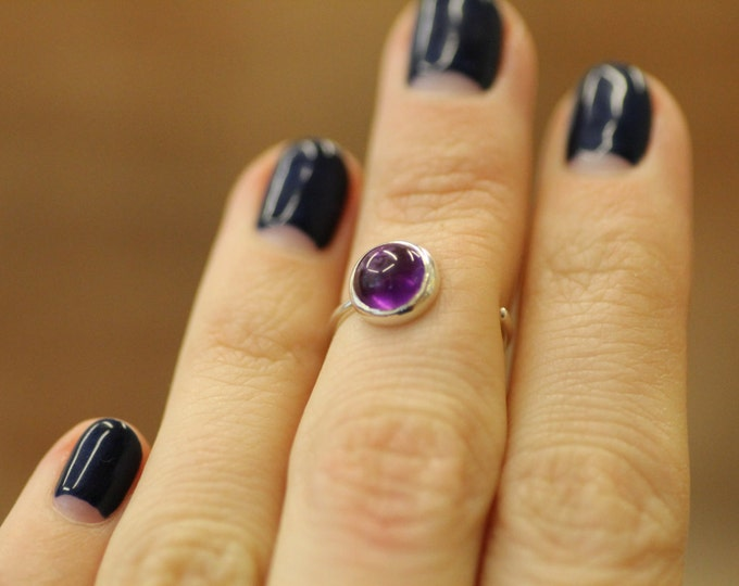 Amethyst ring Amethyst gold ring Gold ring Purple stone ring Engagement ring Natural stone Gift idea Womens ring open ring