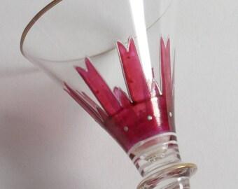 Antique Art Nouveau Theresiethal enamelled liqueur glass.