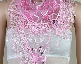 Pink bud silk scarf triangle, stereoscopic embroidery lace fringe scarf, paillette adornment scarf, shawl