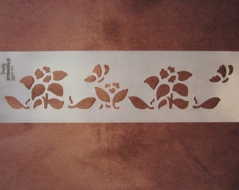 """3.5""""x16"""" blooming glory wall stencil, flowers and butterflies"""