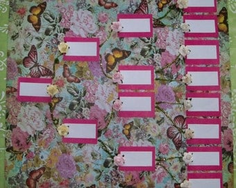"""Original Art One of a Kind Family Tree Chart 4 Generation Handmade Butterflies and Roses 12"""" x 12"""""""