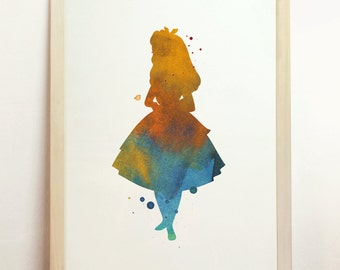 Alice in Wonderland Giclee Art Print Watercolor Children's Silhouette Art Blue Yellow Home Decor Archival Print 8x10 A4 8.3 x 11.7 in - N3