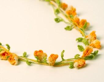 Crochet Pattern Bell Flowers Necklace Bracelet  - Digital file PDF