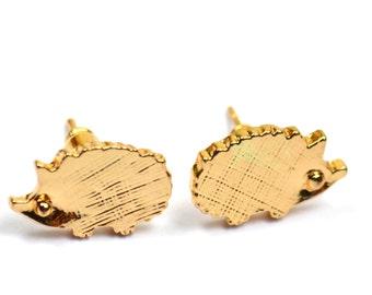 Gold Plated Hedgehog Earrings