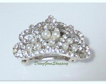 Crystal & Pearl Tiara with Attached French Clip.