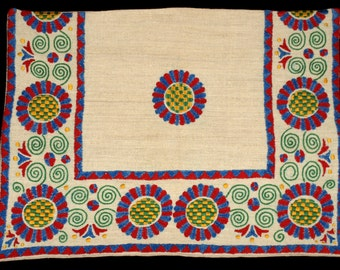 Vintage Hand Made Hungarian Folk Buzsak Embroidered Pillow Case from the 90s