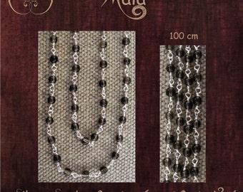 Silver and Smokey Quartz Mala Necklace