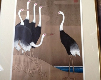 Six Storks on a Beach Offset Print by Page Wood 1975 Printed by Mahayana Inc.