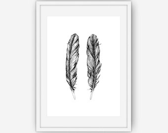 Hand Drawn Black and White Feather Print, Black Wall Art, Feather Wall Art, Feather Wall Print, Wall Art, Printable, Instant Download