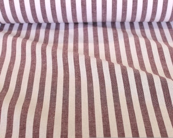 Fabric pure cotton farmer's stripe bordeaux white 1 cm dark red