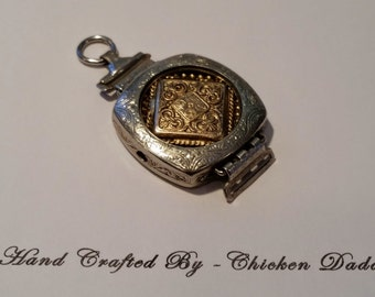 Steampunk Art Deco Ladies watch Silver & Brass Pendent