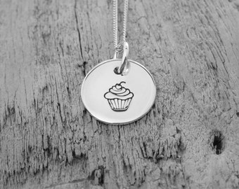 Sterling silver cupcake charm necklace.