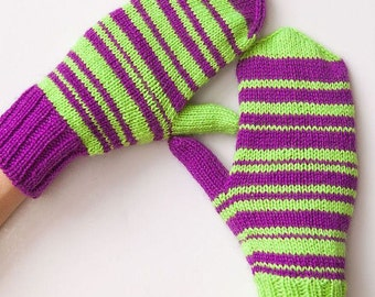 """Warm Winter Knit Mittens """"Bright Stripes"""""""