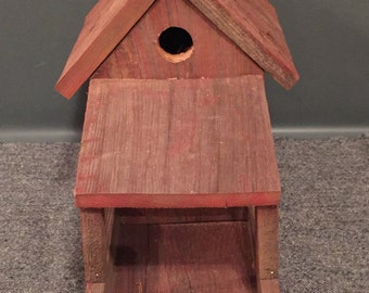 Authentic Red Barn Wood Birdhouse and Feeder