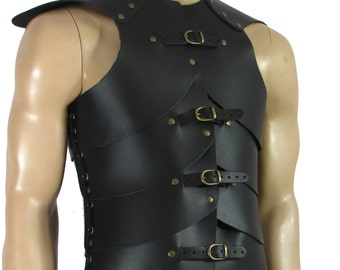 Leather armor for warrior black or brown