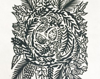 Nest II Orignial Woodblock Print