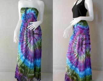 Boho Dress/Hippie Gypsy 100 % Tie Dye Cotton Funky Smocked Maxi Dress/Long Skirt (412)