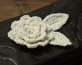 Crochet flower brooch, made of soft cotton white, silver-colored safety closure. Gift idea