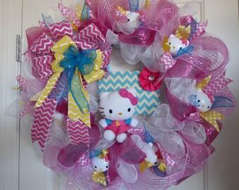 Kitty Deco Mesh Wreath, Pink and White Wreath, Front Door Wreath, Kitten Wreath, Kids' Room Wreath, Theme Room Wreath