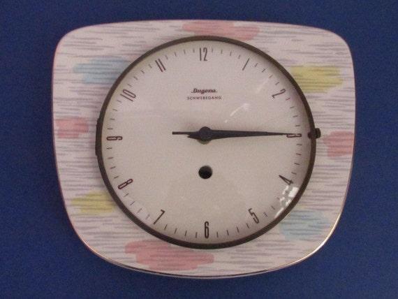 vintage kuchenuhr : Vintage Uhr-K?chenuhr-60er-Keramik/Vintage clock-kitchen clock-60s ...