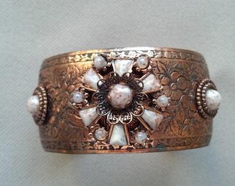 Copper Jeweled Cuff Bracelet Confetti Lucite