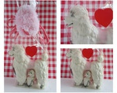 Vintage porcelain dog figurines / white poodle dog figurine / figurine dog collection / figurine set