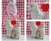 Vintage porcelain dog figurines / white poodle dog figurine / figurine dog collection / figurine set
