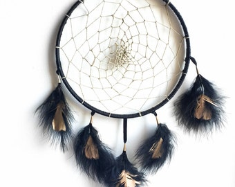 Black Dreamcatcher with Black and Gold Feathers