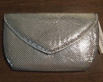 Whiting and Davis Silver Mesh Clutch ; Crossbody