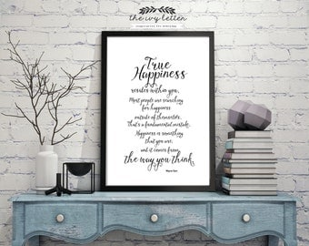 True Happiness Resides Within You Inspirational Word Art, Printable Quote Art, Digital Art Download BOTH Black and White Wall Decor Prints
