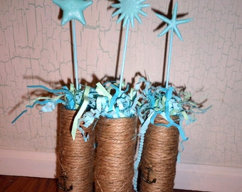 Beach Jute Rope Wrapped Vase~Bridal Shower~Starfish~Beach Theme~Wedding Centerpiece~Beach Baby Shower~Mantel~Mermaid~Anchor~Table Decoration