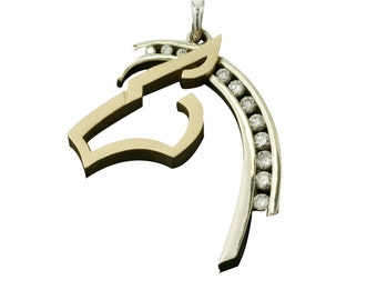 Diamond horse etsy diamond horse necklace equestrian jewelry horse head pendant aloadofball Image collections