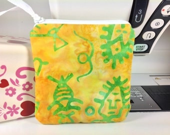 Vivid Hand-Dyed Batiks, Square Business Card Case, Zippered Coin Pouch, FREE Charm, Unique, Hieroglyphs in Gold-Yellow, Green, Ribbon Pull