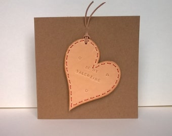 Valentine Card. Handmade Leather Card. Hand embossed and punched. Embossed message can be personalised.