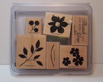 Stampin' Up! BEST BLOSSOMS, Set of 6 Wood Mounted Rubber Stamps, Used