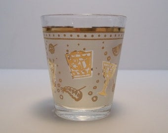 Vintage Gold Frosted Party Shot Glass, Drinks & Hors d'Oeuvres, Fun Bubbles