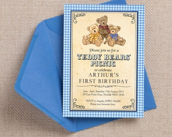 Teddy Bears Picnic Blue Gingam Kids Party Invitation Cards