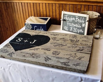Rustic Wedding Guest Book reclaimed  wood pallet distressed 26 x 16 (about) initials heart guestbook