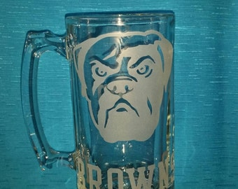 Cleveland Browns Sand Etched Glass Mug 26.5 oz