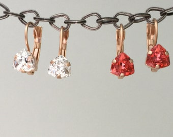 Crystal Drop Earrings, Crystal Leverback Earrings, Trilliant Crystal Earrings, Rose Gold Earrings
