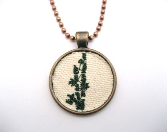 Lucky Bamboo  Necklace  Embroidered Necklace Embroidered Jewelry   Lucky Bamboo Jewelry Green Necklace