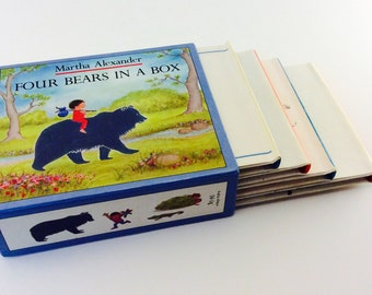 Four Bears in a Box by Martha Alexander (Vintage 1981 Books) 4 Hard Cover Books with Cardboard Case