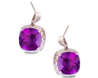 Zoe Earrings with 7.0 Ct. of Amethyst Set in Sterling Silver Accented with 0.15 Ct. of Diamonds