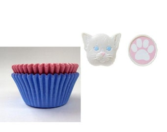 Cat and Paw Print Rings with Pink and Light Blue Baking Cups