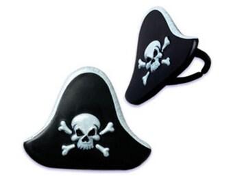 24 Pirate Hat Plastic Rings