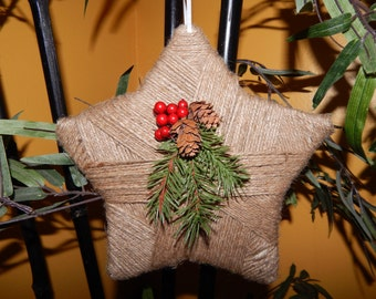 Rustic Christmas Decoration - Rustic Christmas Ornament - Twine Christmas Star - Rustic Holiday Decor