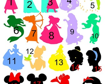 Glitter Disney Princess Heat Transfer Iron On Vinyl Decal