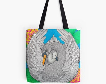 Swan Tote Bag, Original Art Design By Australian Artist Belladonna Raudvee