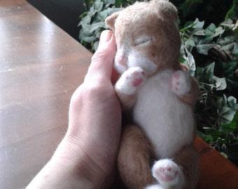 New born kitten,life size,  Animal Needle felted Cat felted Kitten felted Tabby cat needle felted pet gift