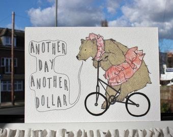 Bear on Bicycle Illustration A5 Art Print